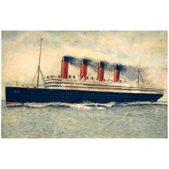 Early 20th Century Folk Art Watercolor of RMS Aquitania, circa 1930
