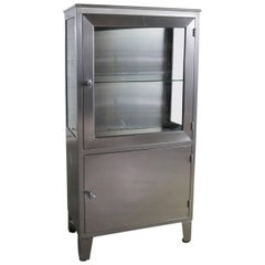 Vintage Petite Stainless Steel Industrial or Medical Display Storage Cabinet