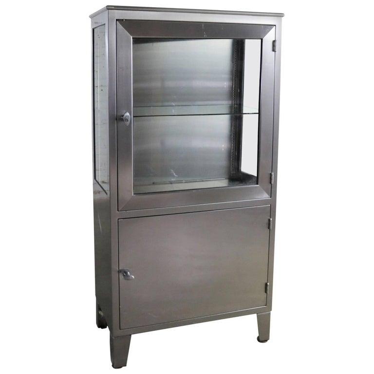Vintage Pee Stainless Steel Or Medical Display Storage Cabinet
