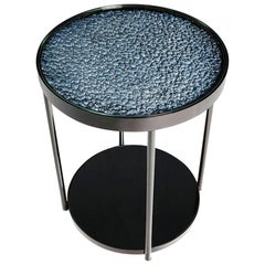 Hemlock Side Table End Table Polished Black Nickel and Smoked Mirrored Glass