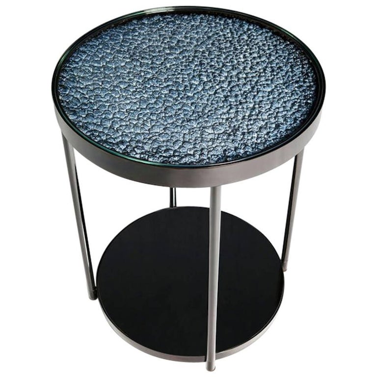 Hemlock Side Table End Table Polished Black Nickel and Smoked Mirrored Glass For Sale