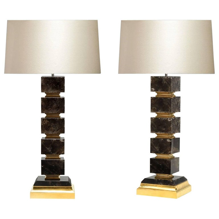 Contemporary Block Form Rock Crystal Quartz Lamps For Sale