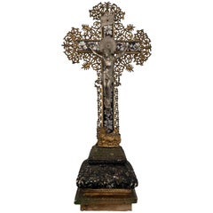 French 1700s Large Crucifix Made of Wood, Metal, Plaster and Mother-of-Pearl