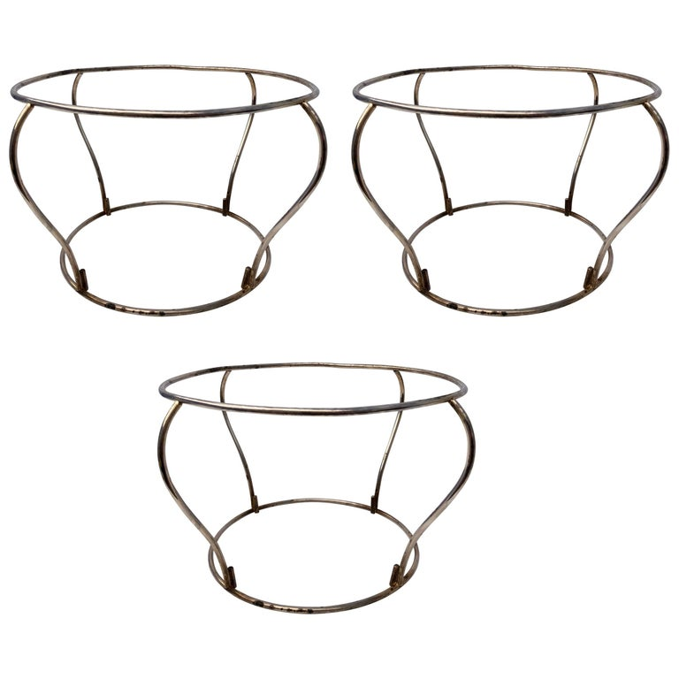 French Vintage Plated Silver Platter Stands, Set of Three, 1960s