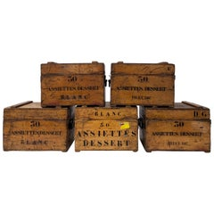 French Wood Catering Crates with Iron Hardware, Set of Five Small, 1950s