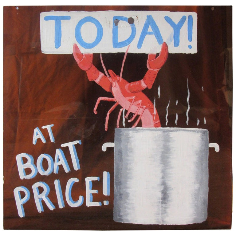 Midcentury Lobster for Sale Hand-Painted Sign on Bronze Lucite, 1960s-1970s