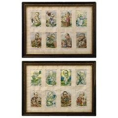 Cartoonist B. Moloch, 1907 Color Prints, Two Frames Containing Eight Lithographs