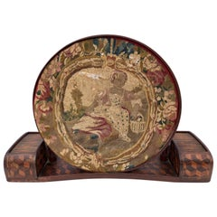 French Marquetry Embroidery Frame with Original Embroidery of Young Girl, 1800s