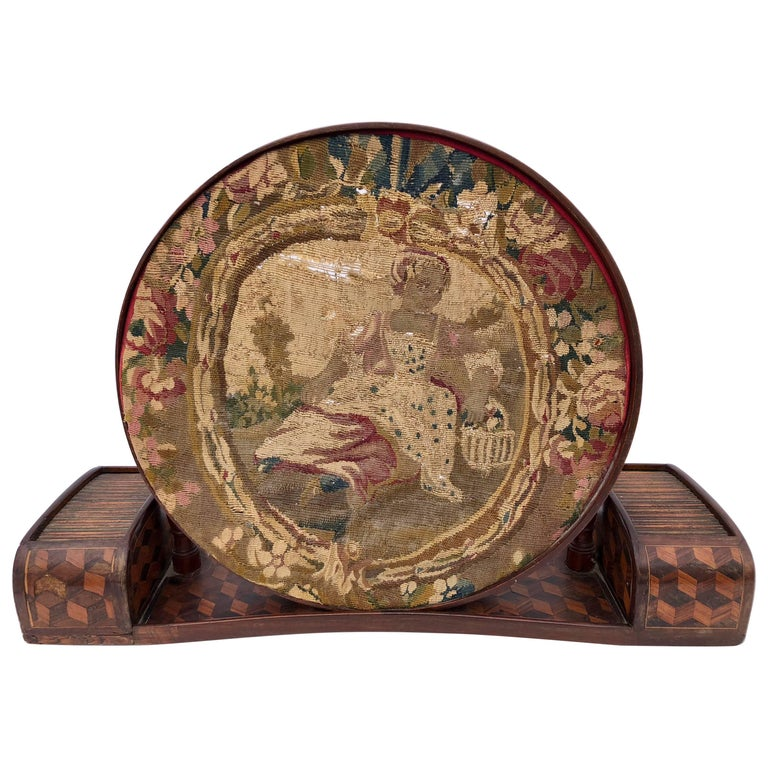 French Marquetry Embroidery Frame with Original Embroidery of Young Girl, 1800s For Sale