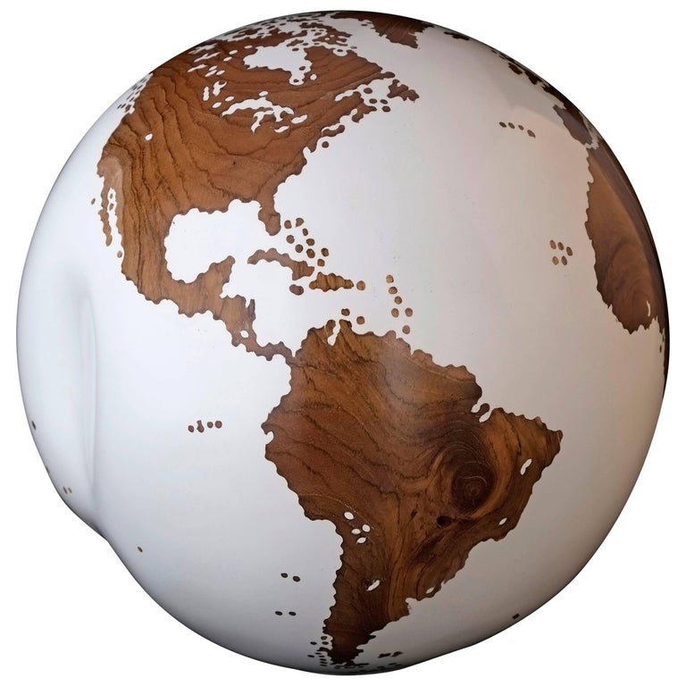 Classic Teak Root Globe with Acrylic White Resin Finishing, 25 cm For Sale