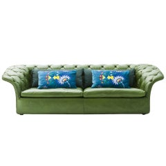 Moroso Bohemian Three-Seat Sofa in Tufted Leather by Patricia Urquiola