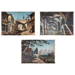 French Early 1900s Guignol Hand-Painted Scenes on Canvas, Set of Three
