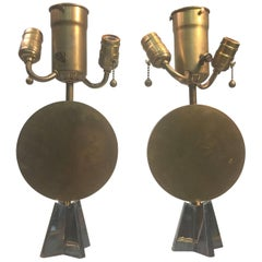 Pair of Art Deco Bronze Cubist Lamps