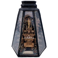 French Antique Reliquary with a Statue of Mary and Infant Jesus, 1700s