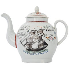 Dated Pearlware Teapot with Ship, English, 1792