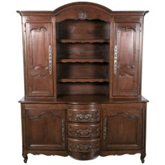 French Country Louis XV Style Oak Bow Front Vaisselier or Buffet Deux Corps