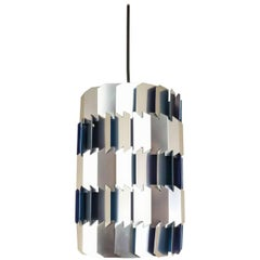 Silver and Blue Facet pendant by Louis Weisdorf for Lyfa, 1960s