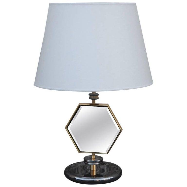 Table Lamp Esagonal  1970s Brass Chrome Fabric Dome Mirror Italian Design  For Sale