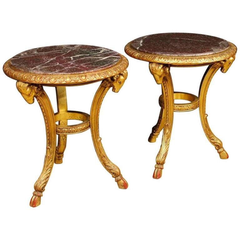 Pair of French Side Tables in Giltwood with Marble Top from 20th Century