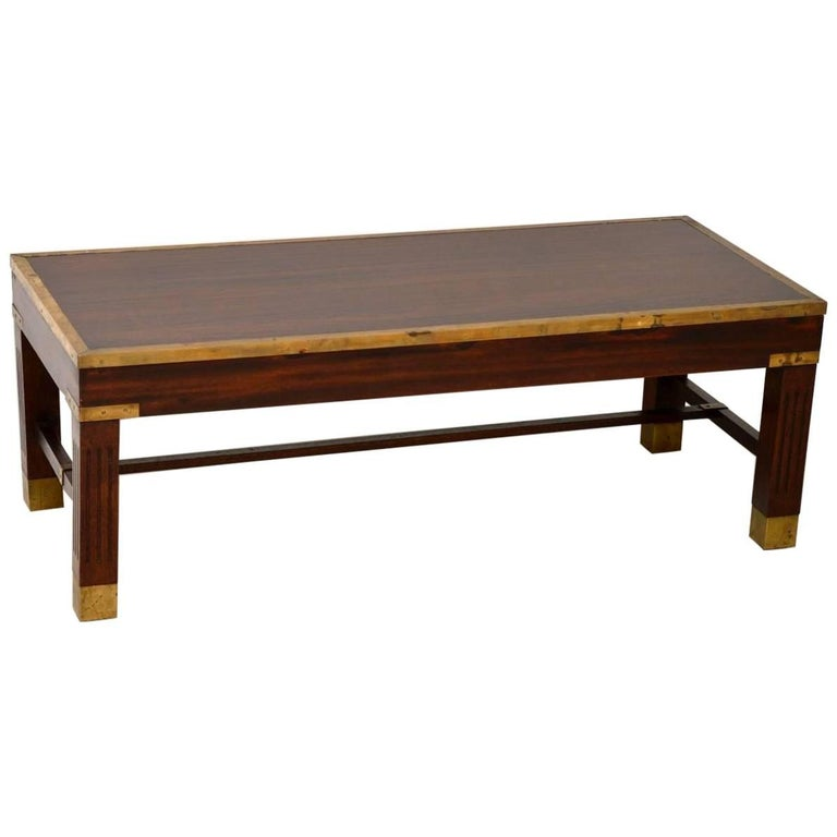 Antique Mahogany and Brass Coffee Table