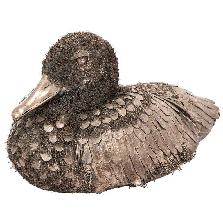 Buccellati Style Italian Solid Silver Duck