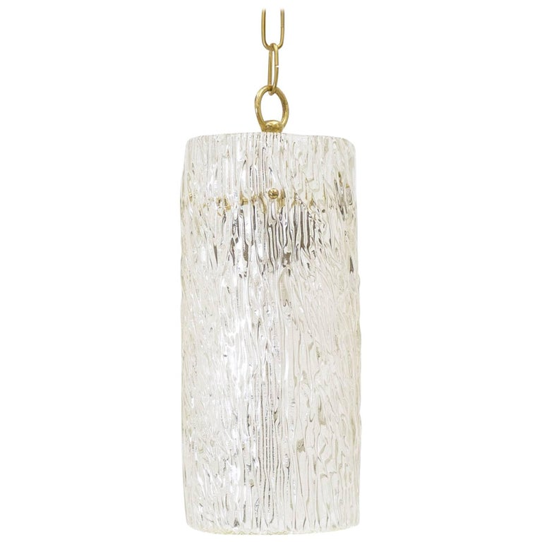 Large J.T. Kalmar Textured Glass Pendant, 1950s