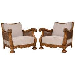 Pair of Antique Swedish Oak Bergère Armchairs