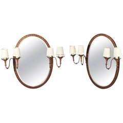1980s Pair of Oval Iron Wall Mirror with Sconces