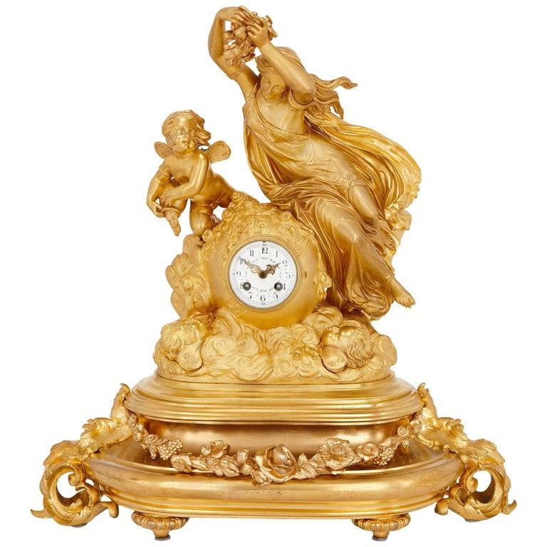 Antique French Louis XV Style Gilt Bronze Mantel Clock