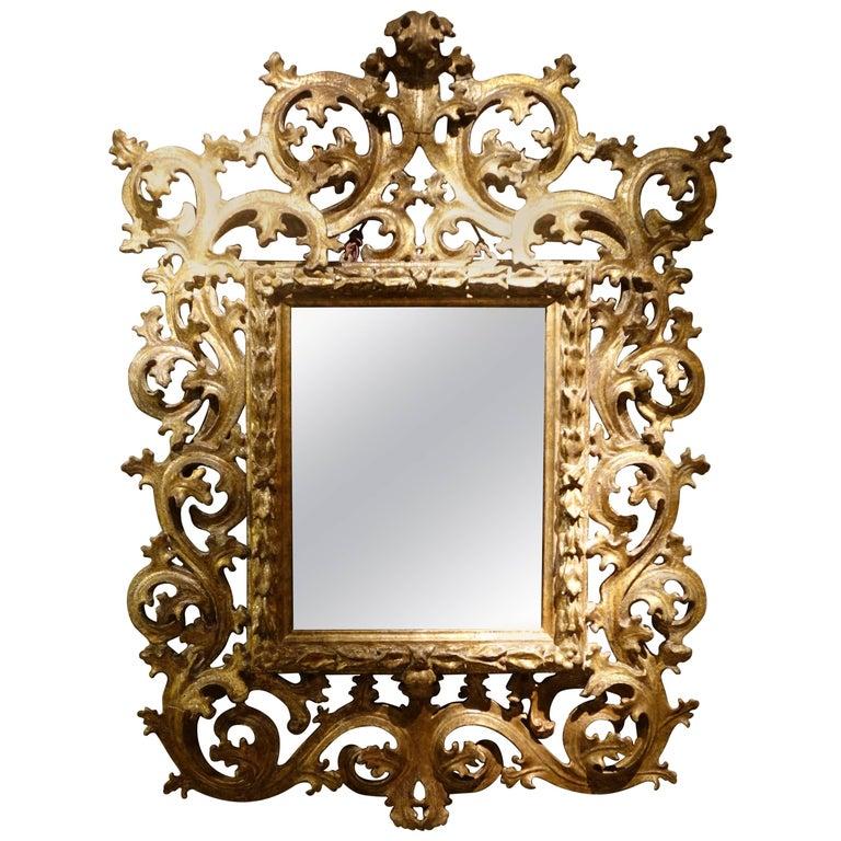 Baroque Late 17th-18th Century Italian Mecca Giltwood Mirror
