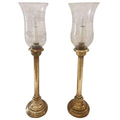 Beautiful Pair of Brass Candlestick Lamps with Original Antique Glass Globes