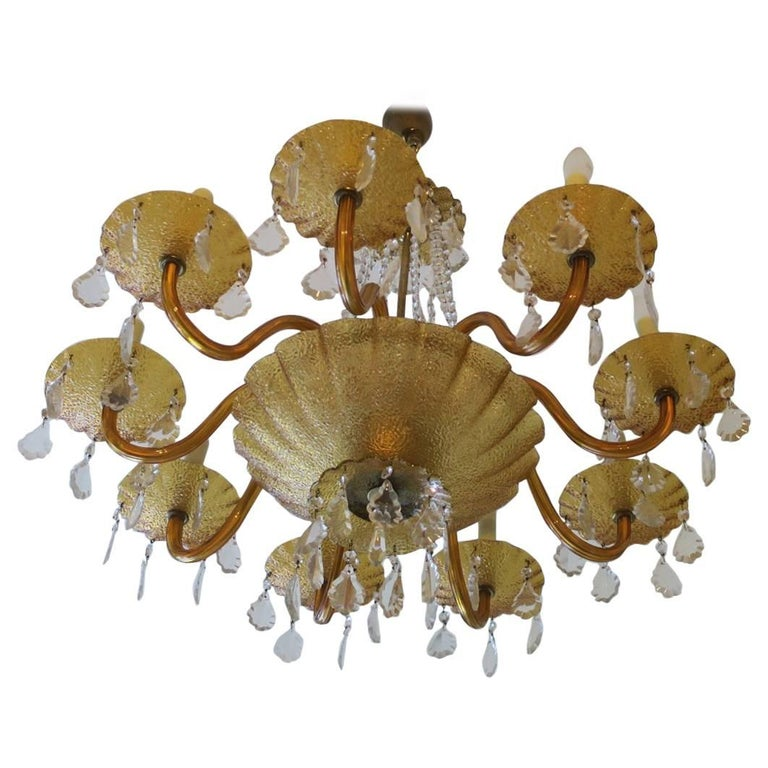 Large Murano Venetian Amber Glass and Brass Eight-Arm Chandelier