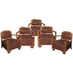 1980s Set of Five Art Deco Brown Velvet Wooden Armchairs