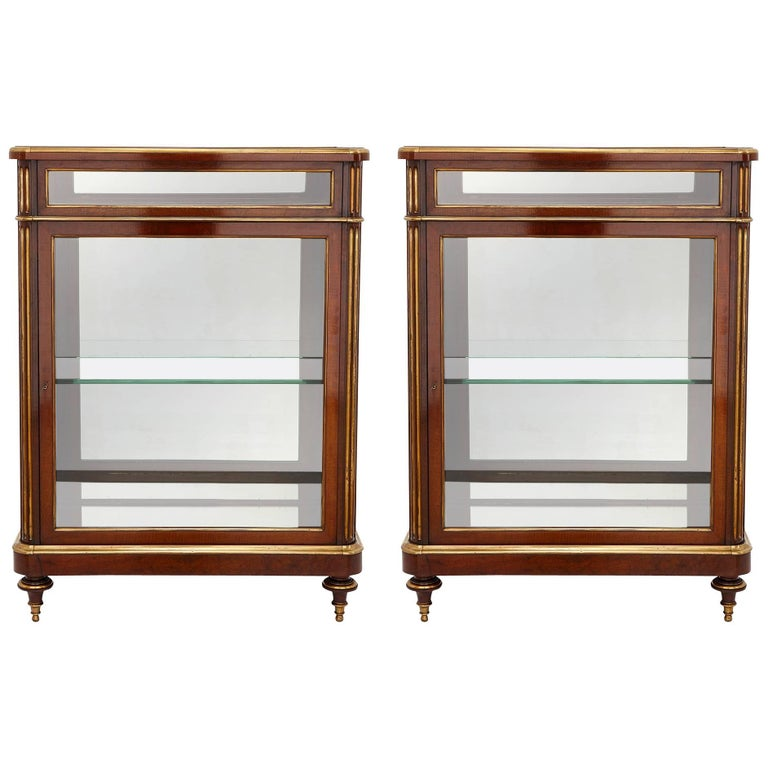 Two Glass and Mahogany Display Cabinets, 19th Century, France