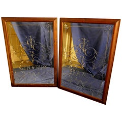 Pair of Large Etched Glass Pub Mirrors