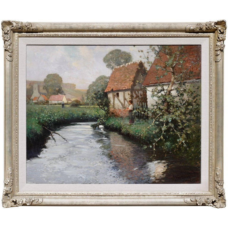 George Ames Aldrich Impressionist Oil Painting Summer Stream, 1908 For Sale