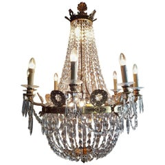 French Empire Gilt Bronze and Crystal Cut Dore Chandelier