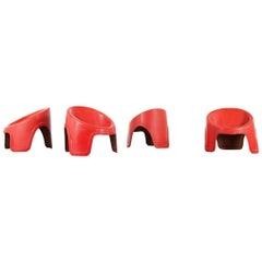Space Age Lounge Chair, France, Set of Four Fiberglass Chairs, Colani Panton