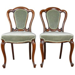 Pair of Antique Dining Chairs, English, Victorian, Side, Mahogany, circa 1840