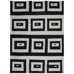Primitive Kilim Rugs, Square Black and white Carpet , Modern Striped Kilim Rugs,