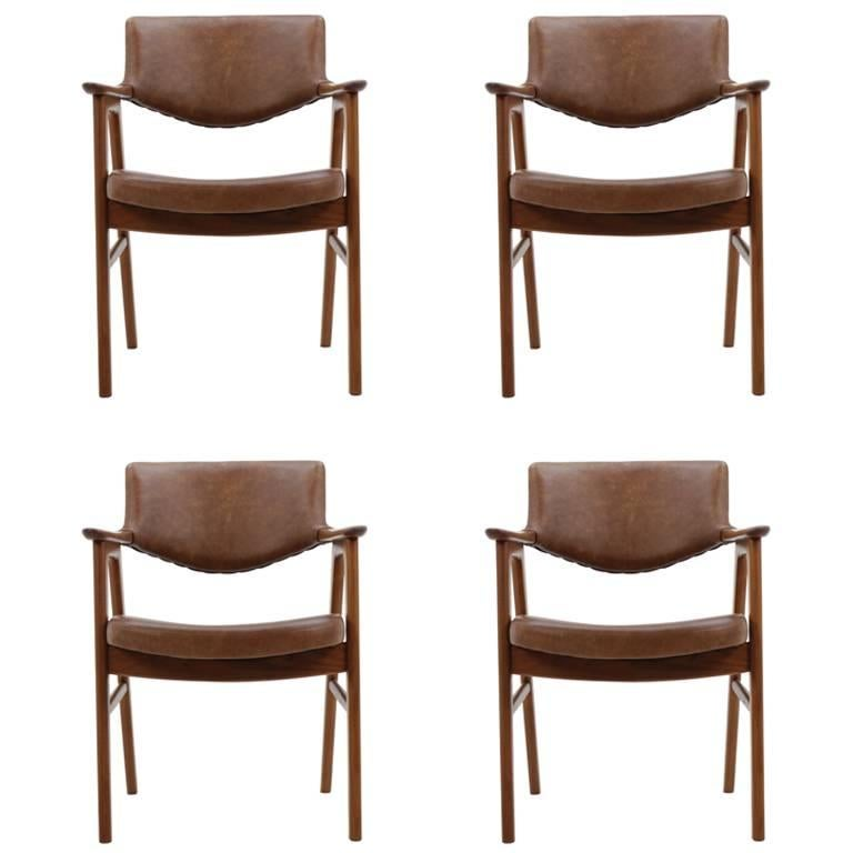 Set of Four Erik Kirkegaard Armchairs by Høng Stolefabrik, Denmark