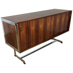 Midcentury Rosewood and Chrome Sideboard or Credenza by Merrow Associates