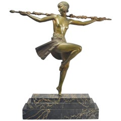 Dancer with Thyrsus by Pierre Le Faguays Art Deco Bronze Statue