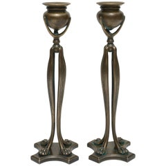 Pair of Tiffany Studios New York Art Nouveau Candlesticks, 1900