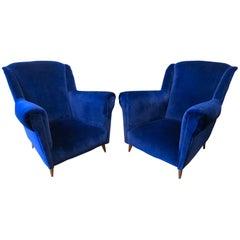 Pair of Midcentury Italian Velvet Armchairs