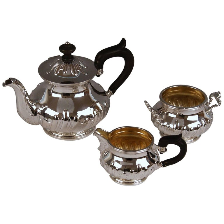 Silver Austria Vienna Tea Pot Sugar Bowl Creamer Baroque Style Klinkosch 1880