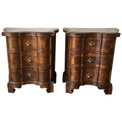 Pair of Italian Burl Walnut and Fruitwood Bedside Commodes, 19th Century