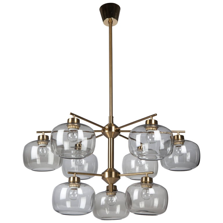 Brass Chandelier With Smoke Glass Shades By Holger Johansson For Westal Swedish