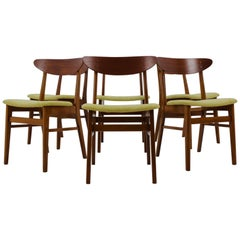 Set of Six Teak Chairs by Fastrup Denmark, 1960
