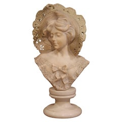 19th Century French Marble Bust of a Young Beauty with Lace Hat on Swivel Base
